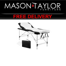 Mason Taylor 3 Fold Portable Aluminium Massage Table MT-ALUM-GA301-BKWH-75