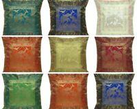 Decorative Square Throw Pillow Cover Elephant Print Silk Brocade Cushion Covers
