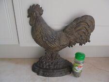 Large vintage French  bronzed metal cockerel door stop, hen chicken