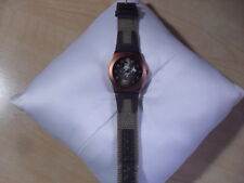 RARE DISNEY WATCH Time Works Safari Mickey Mouse Bronze Canvas Band