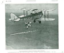 Document ancien saut d'un parachutiste au dessus 1933 issue de magazine
