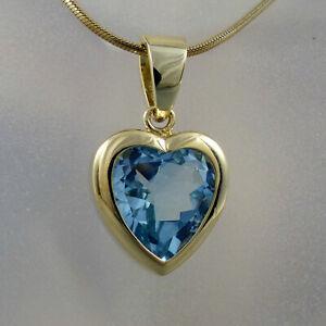 Herz Anhänger mit Blautopas Besatz in 585/14k Gelbgold