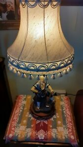 VINTAGE ORIENTAL SHIWAN  MUDMAN TABLE LAMP  WITHOUT SHADE. 67cm by 16.5 cm SEE D