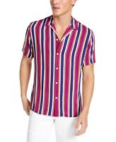 INC Mens Shirt Purple Size Medium M Button Down Vertical Striped Camp $55 #055