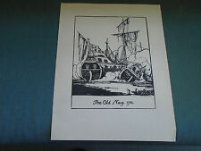1919 - THE OLD NAVY 1730 DECOY PRINT - BLACK ON PAPER - BY CLAUD LOVAT FRASER