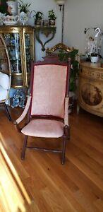 Vintage Antique Folding Wooden Chair Carved Floral Design upholstery red golden