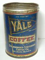 Rare Vintage 1930s YALE PENNANT ADVERTISING 1 POUND COFFEE TIN ST LOUIS MISSOURI