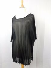 Collection XIIX Eternal Night Sheer Pleated Poncho Tunic Black One Size #5749