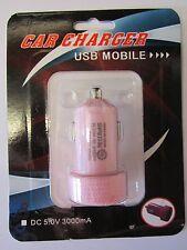 PINK 12V-5V 3A 3000mA Double USB Car Charger Power Supply Fag Lighter Socket