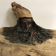 Wood Spirit Wizard Carved Folk Art Forest Face Knot Sculpture Mountain Man Cabin