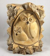 OWL With Baby Statue Hand Carved From Crocodile Wood With A lot Of Details