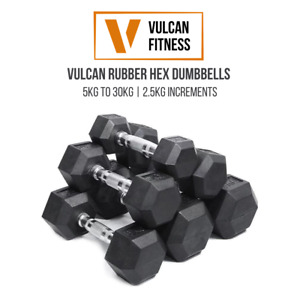 *NEW* VULCAN Hex Rubber Dumbbells | Cast Iron | Set (5kg to 30kg) | IN STOCK