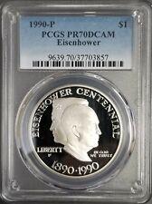 "1990-P Silver $1 Eisenhower Commemorative Coin, PCGS PR70 DCAM, ""Pop Top"" Coin"
