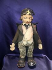 Rare Early C1920-22 Unusual Male Lenci Doll with Metal Button in Ear Paper Tag