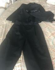Pant Suit Black 100% Wool NWT Size 8 Jacket & Pants Lined Tie Front Evening #101