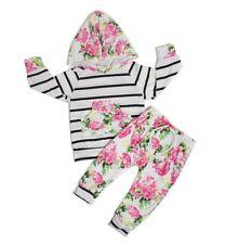 NEU Set  2Tlg. Hose & Hoodie weiß Streifen Blütenprint pink Gr.86-92  F3
