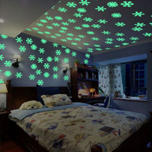 DIY Glow In The Dark Snowflake Bedroom Wall Stickers Ceiling Boys Girls *RC10