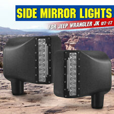 2PCS 27w Side Mirror LED Lights Turn Signal Offroad For 07-17 Jeep Wrangler JK