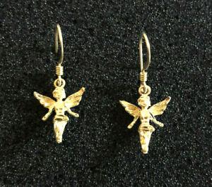 "Sterling Silver Earrings Cherub Angel Diamnd Cut Brite 1.25"" 1.4g 925 #1608"