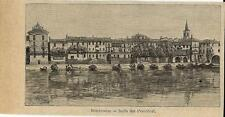 Stampa antica ISOLA DEI PESCATORI veduta Lago Maggiore 1896 Old antique print