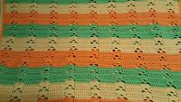 "Handmade Baby Blanket Green Yellow Orange Stripe Appx 33 x 44"" Crochet/Knit"