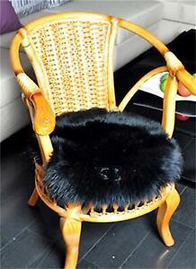Real Sheepskin Fur Rug Floor Carpet Floor Round Mats Circle Seat Cushion 16in