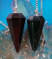 2  SOLID BLACK TOURMALINE DOWSING PENDULUMS WITH CHAINS AND POUCHES, DIVINATION