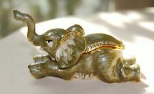 Brand New ELEPHANT Limoge style enameled jeweled trinket box !  FREE SHIPPING !!