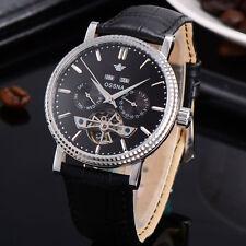 40mm Ossna flywheel Jewel Bezel Silver Hand Black Dial Automatic Mens Watch