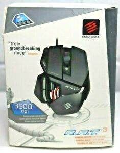 MAD CATZ Gaming Mouse R.A.T.3 In Box 3500 dpi PC/MAC Tested 3 Buttons 2012 G4