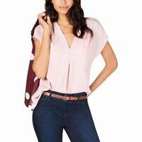 INC Womens Top Light Pink Size Medium M V-neck Inverted Pleat Stretch $59 436