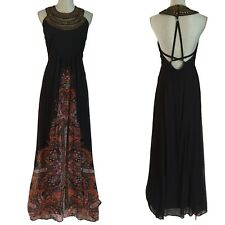 NWT Anthropologie Free People Metal Bib Demeter Gown Black Strappy Maxi Dress 4