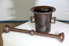 Big Antique Mortar and Pestle Hungarian Cast Iron WWI Circa 1917 - 11 in tall