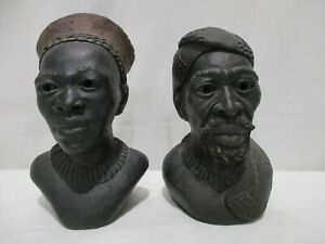 2 African Clay Heads by Mhlongo