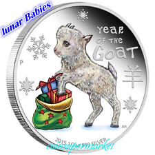 2015 Lunar Year Cute Baby Goat 1/2oz Colorized Silver Proof Coin Perth COA & Box