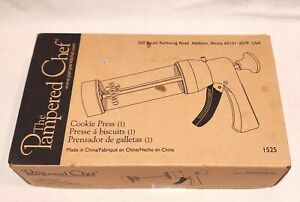 Unused Pampered Chef Cookie Press # 1525 Complete with Instructions Recipes MIB