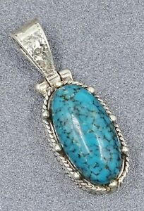 Womens Natural Turquoise Pendant Sterling Silver Fine Jewelry