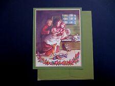 Unused Irene Dash Xmas Greeting Card by Tasha Tudor, Children Adoring New Baby