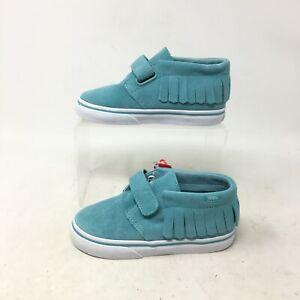 NEW Vans Chukka V Moc Casual Sneakers Low Top Hook & Loop Suede Blue Toddler 9.5