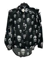 Haley Starr Women's Blouse Skull Print Black  Sheer Hi-Low Goth Style Top Medium