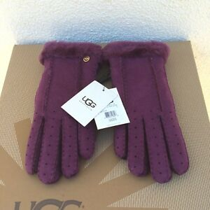 UGG CLASSIC PERFORATED 2- POINT ASTER SUEDE SHEEPSKIN CUFF GLOVES , SMALL ~ NWT