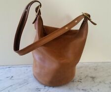 Vintage COACH LARGE Camel Leather Legacy Duffel Bucket Tote Purse Bag 1980'S