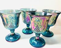 Vintage Indiana Glass Carnival Glass Blue Harvest Grape & Lvs Set Of 4 Goblets