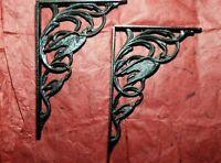 Gothic Black Painted Brass Double Raven/ Crow Shelf Brackets Victorian Bird Pair