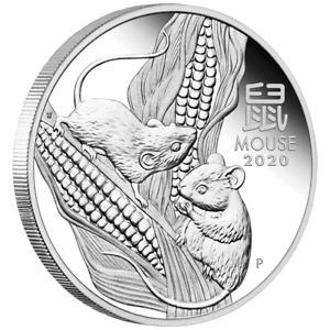 Australien 1 Dollar 2020 - Jahr der Maus | Mouse (1.) Lunar III - 1 Oz Silber PP