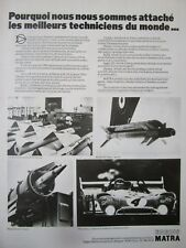 1/1976 PUB ENGINS MATRA VELIZY MISSILE R.530 CROTALE MAGIC MATRA SIMCA FRENCH AD