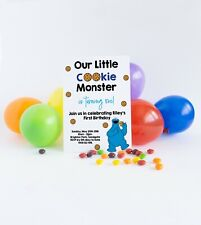 Personalised Cookie Monster 1st Birthday Invitations Birthday Party Invites