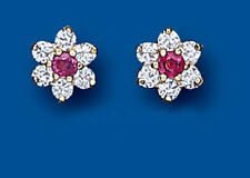 Unique Wishlist 9ct Yellow Gold Ruby & Clear Stone Flower Studs AP0219