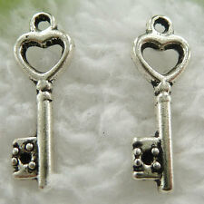 Free Ship 260 pcs tibet silver key charms 20x17mm #562