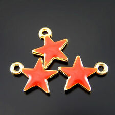 20 pcs Red Enamel Zinc Alloy Five-pointed Star Charms Pendant Findings 52071